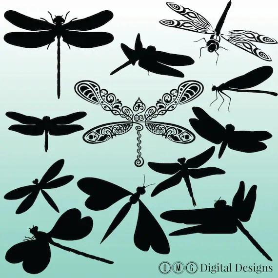 dragonfly silhouette digital