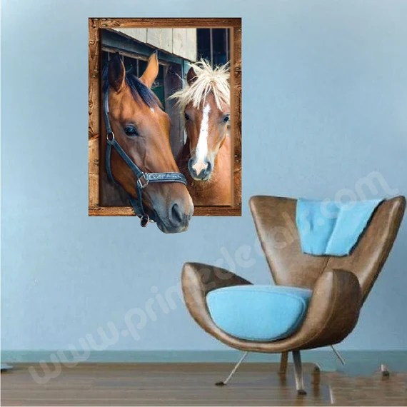3D Horse Window Wall Decal by PrimeDecal