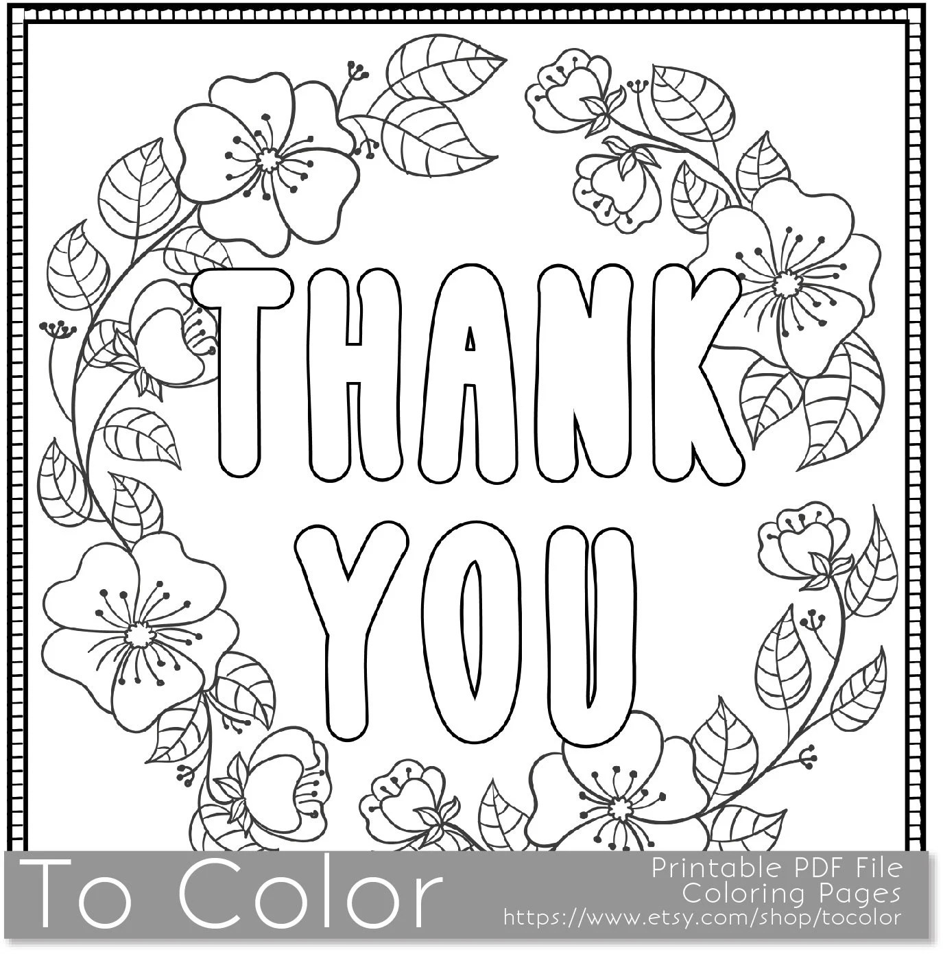 Thank You Printable Coloring Page for Adults PDF / JPG