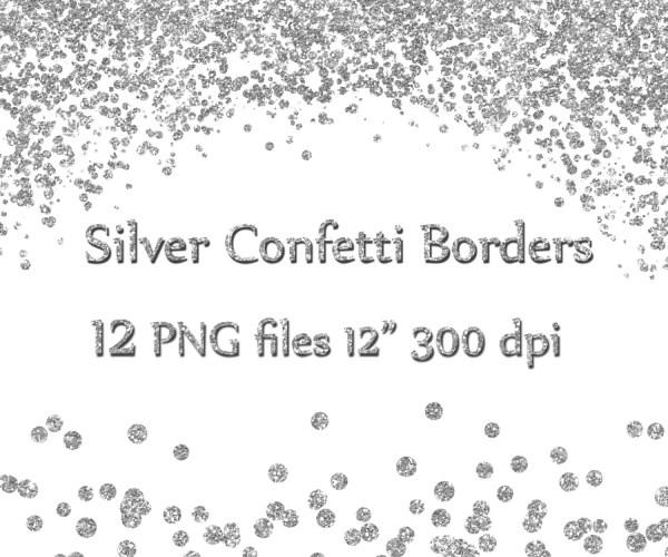 silver confetti borders glitter