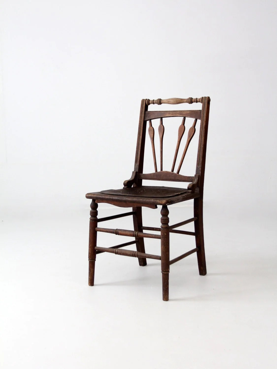 Antique Wooden Chair Antique Wood Chair With Leather Seat Wooden Accent Chair