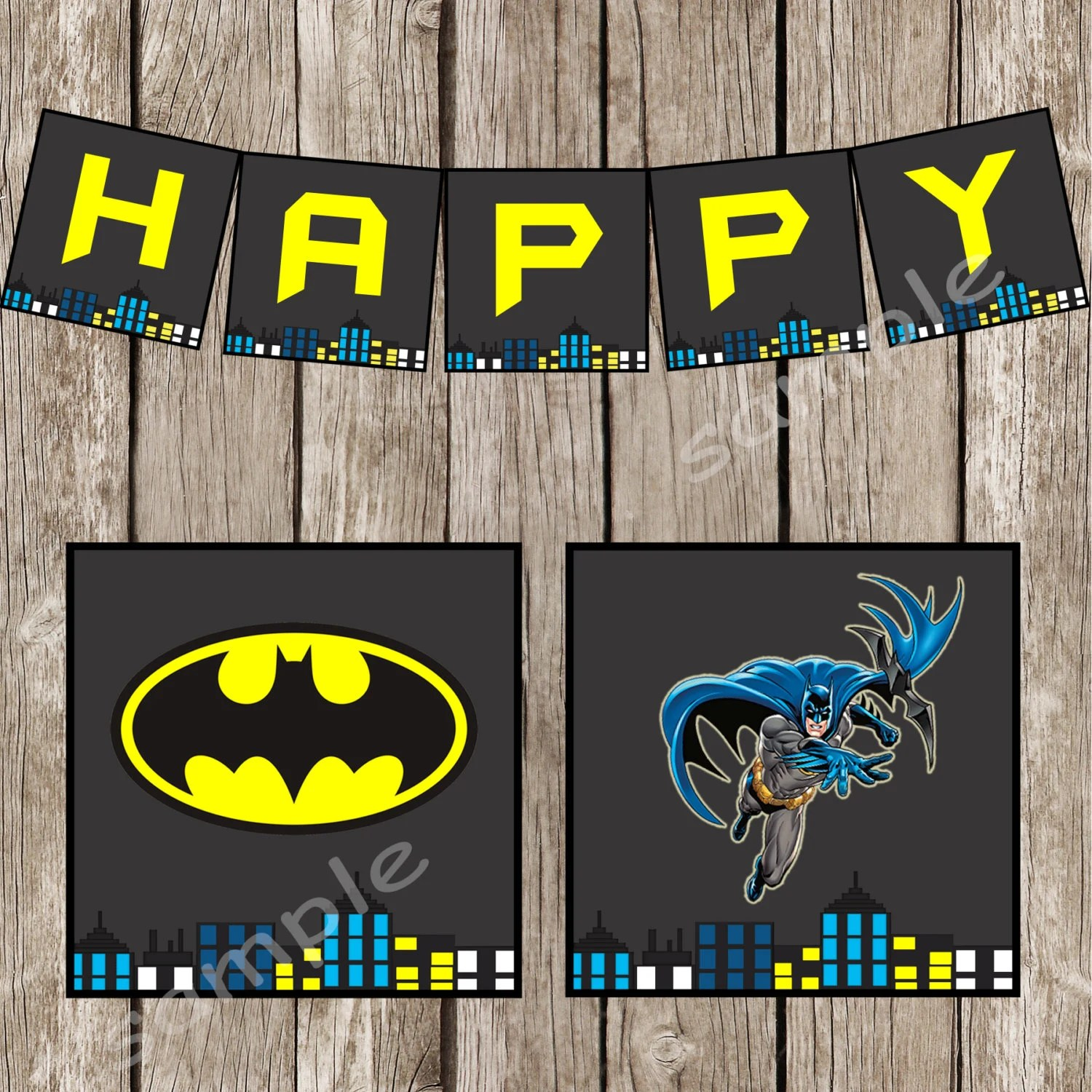 Retro Batman Happy Birthday Banner Batman SuperHero Birthday