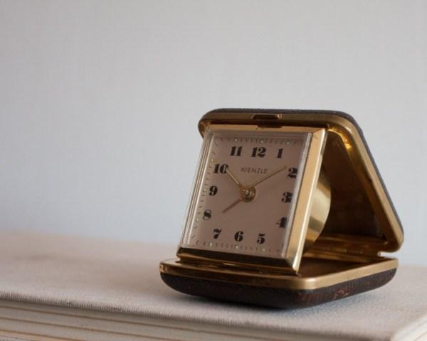 Small Travel Clock Kienzle Folding Case Alarm German
