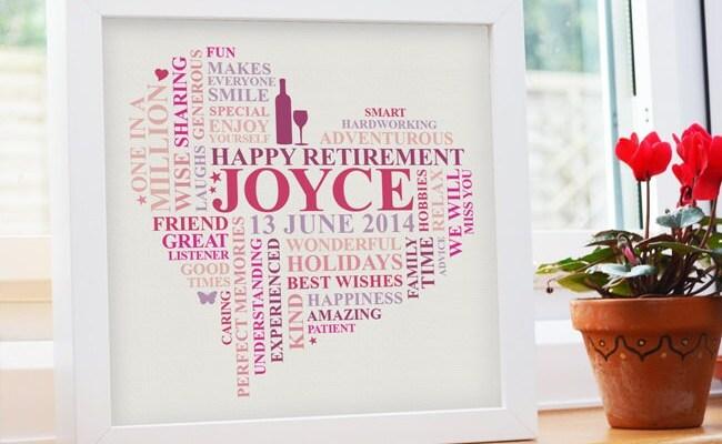 Framed Retirement Print Personalised Retirement Present