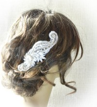 Lace Hair Piece Beaded Wedding Hair Piece Wedding Hair Of