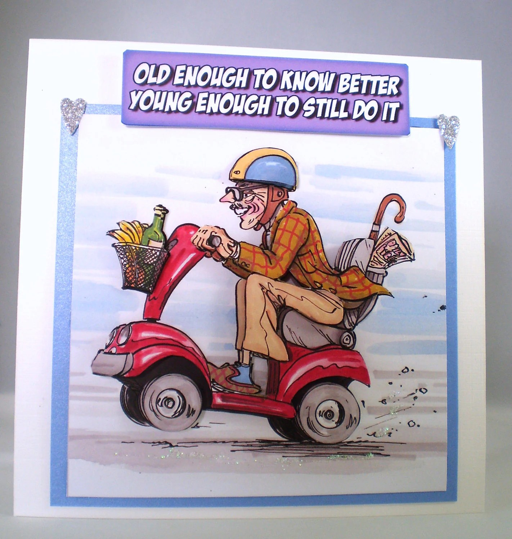 Handmade Humorous Birthday CardGrandad On Mobility Scooter3D