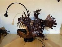 angler fish lamp metal garden sculpture Sea Monster 3D