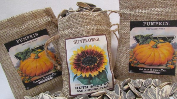 Wedding Favors Seeds Country Harvest Burlap Bag With Sunflower