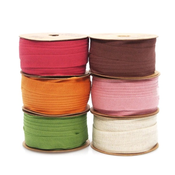 Cotton Linen Blend Fabric Ribbon 5 8- 25-yard