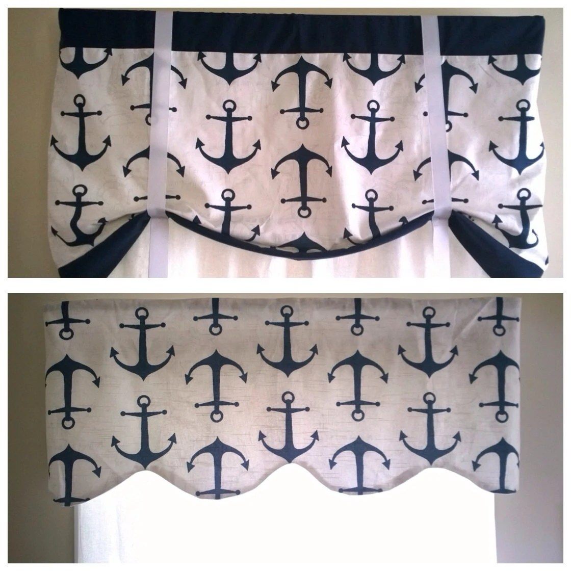 Nautical Window Valance Scalloped And Straight Valances With