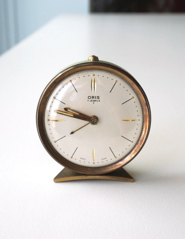 Small Alarm Clock 1950s Vintage Oris Swiss Pale