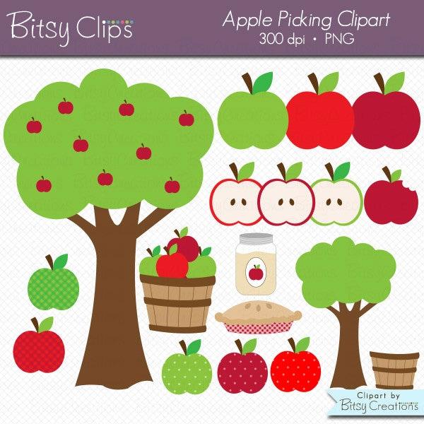 apple picking digital art set clipart