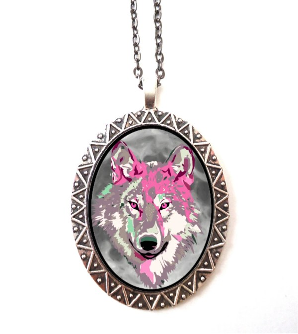 Trippy Wolf Necklace Pendant Psychedelic Visionary Pop Art
