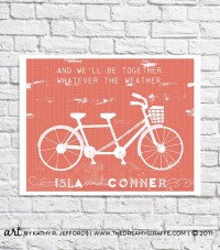 Tandem Bicycle Art Bike Wedding Theme 1st Anniversary Gift