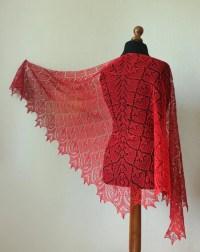 Red lace shawl ellegant summer wrap hand knit shawl