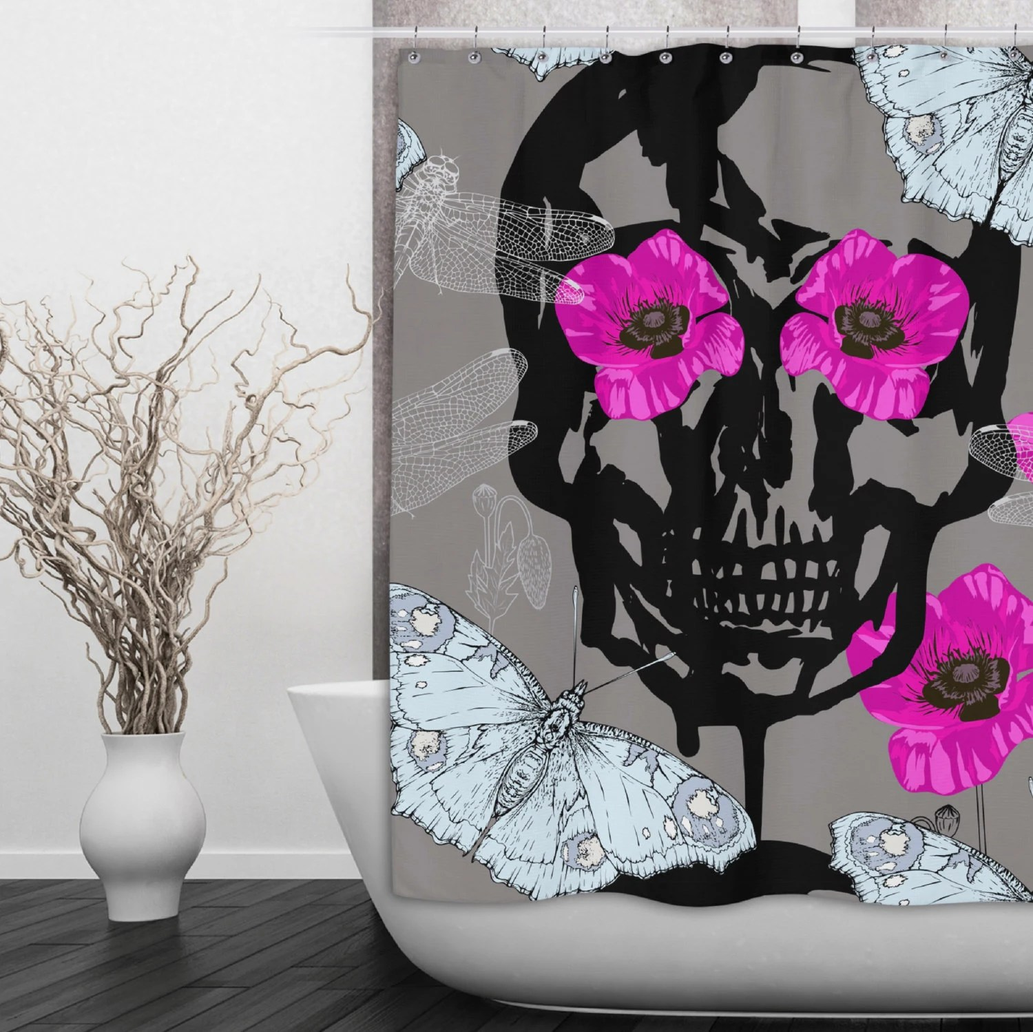 Hot Pink And Black Shower Curtain - Mobroi.com