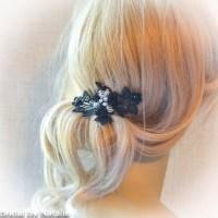 Black Beaded Bridal Flower Hair Accessories - Black Hair ...