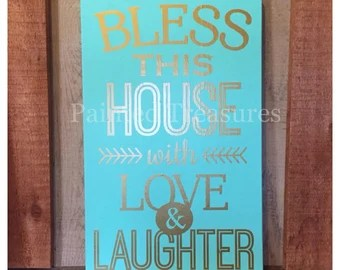 Download Bless This House with Love and Laughter wall words decal