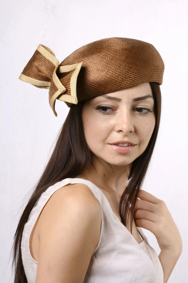 Elegant Brown Pillbox Derby Hat Tea Party Retro