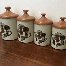 Vintage Kitchen Canister Set Mushroom Design Pantry Queen