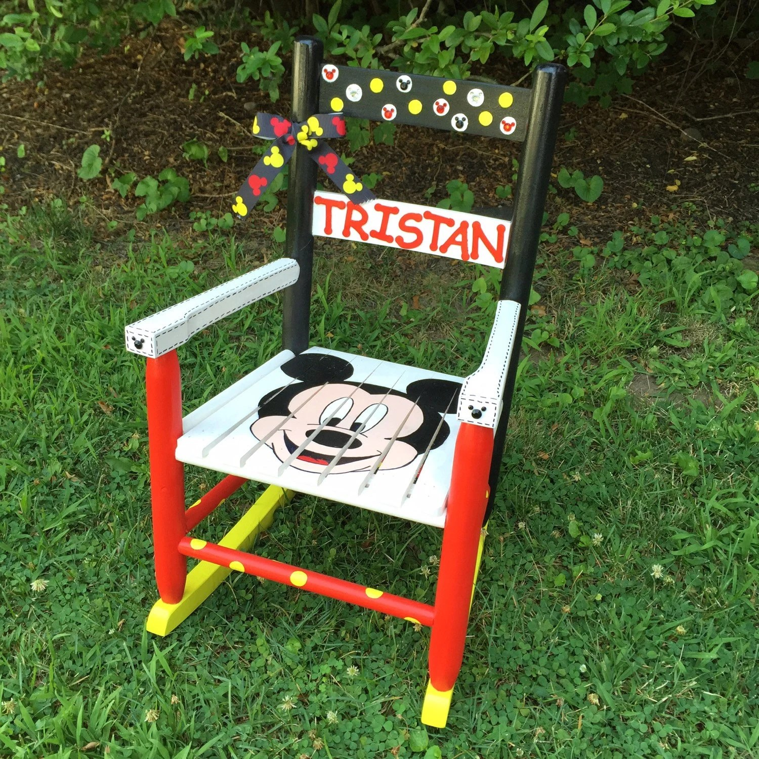 Toddler Wooden Rocking Chair Mickey Mouse Themed Rocking Chair Hand Painted Kids Rocker