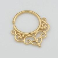 Gold Septum Ring for pierced nose. tribal septum ring. septum