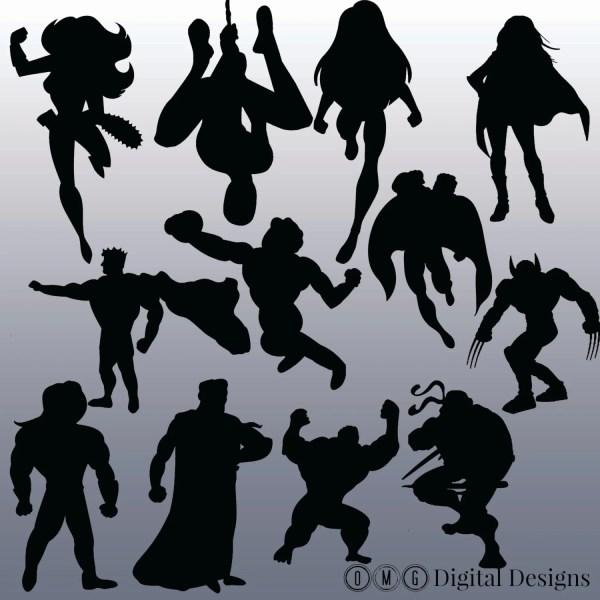 12 Superhero Silhouette Clipart Images Clipart Design