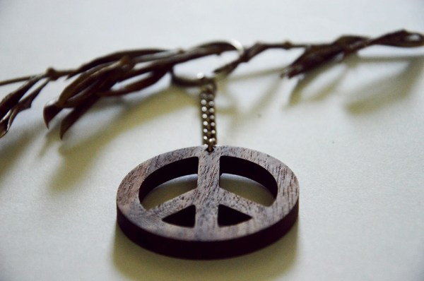 Wooden Peace Sign Keychain Walnut Wood Lovers
