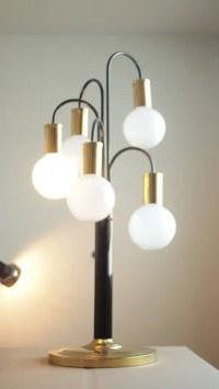 Brass & Black Mid Century Orb Table Lamp Mid Century ...
