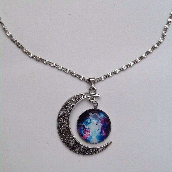 Stars Galaxy Universe Glass Cabochon Pendant by ChicbyRose