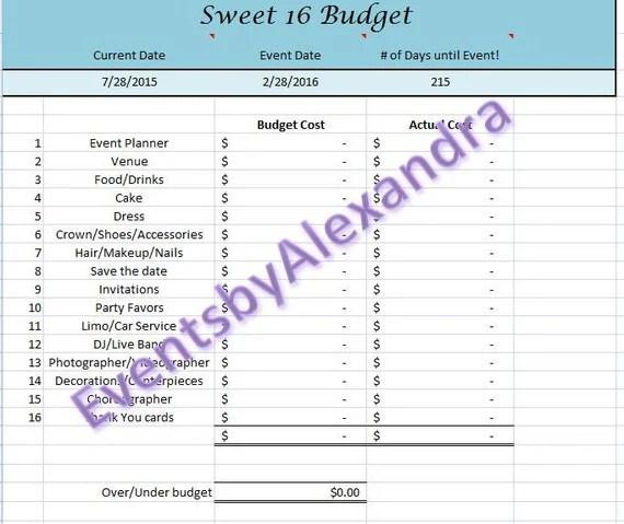Sweet 16 Budget Spreadsheet