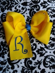 monogrammed hair bows personalized
