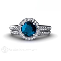 London Blue Topaz Engagement Ring & Wedding Band Diamond Halo
