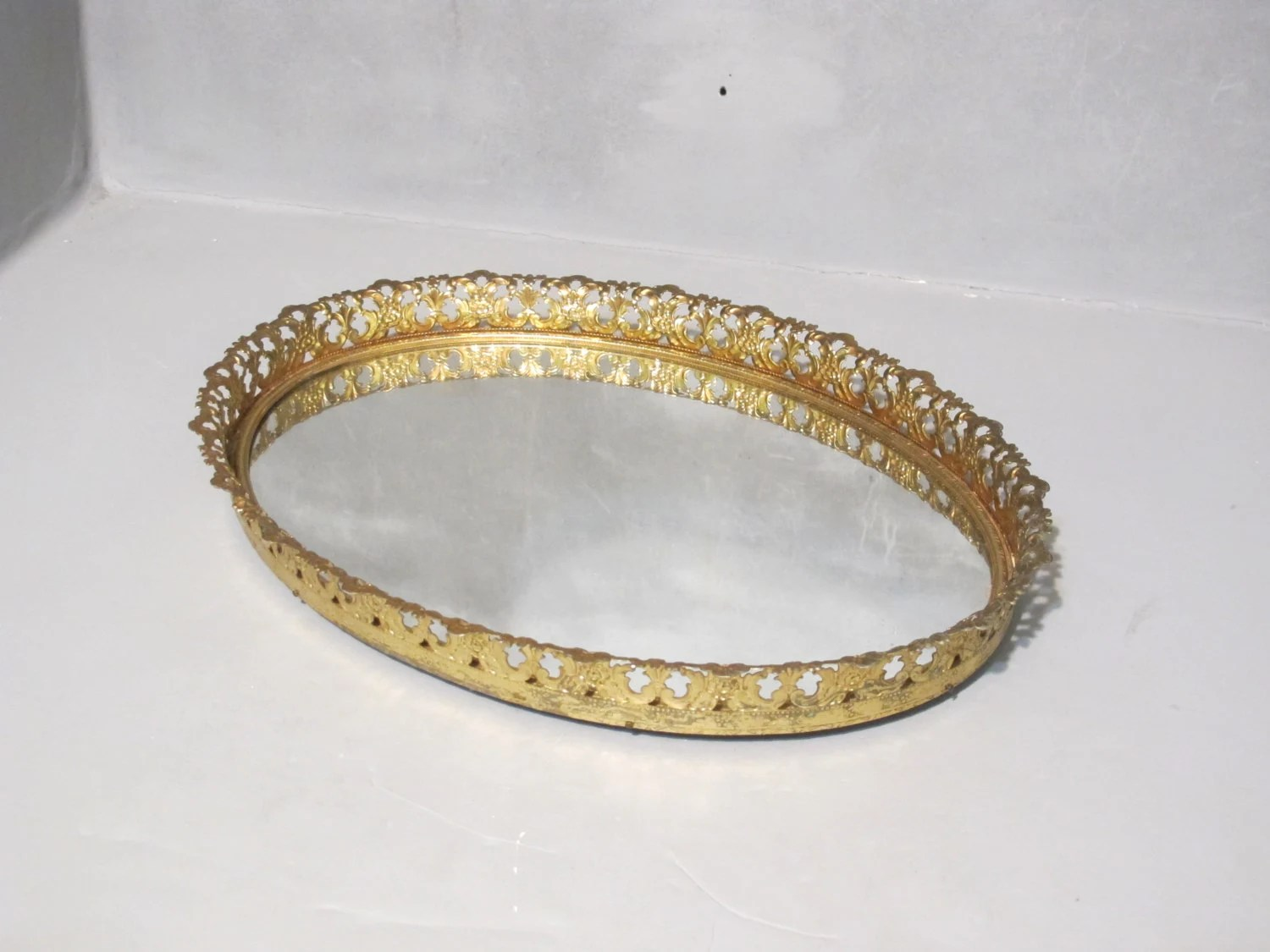 Vintage Oval Vanity Mirror Tray / Faux Brass Gold Plated