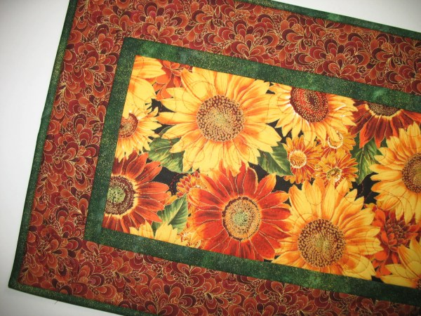 Sunflower Table Runner Dahlias Quilted Fabric Robert