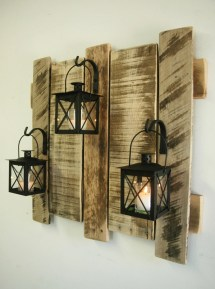 Pallet Wall Decor With Lanterns Rustic Shabby Chic