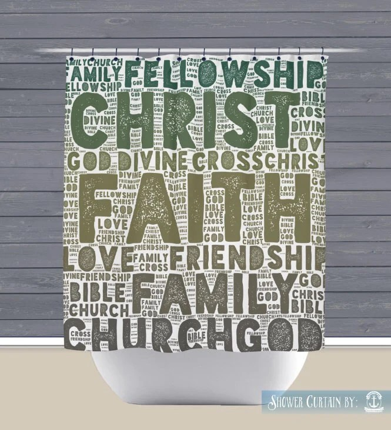 Shower Curtain Faith Church Religious Typography