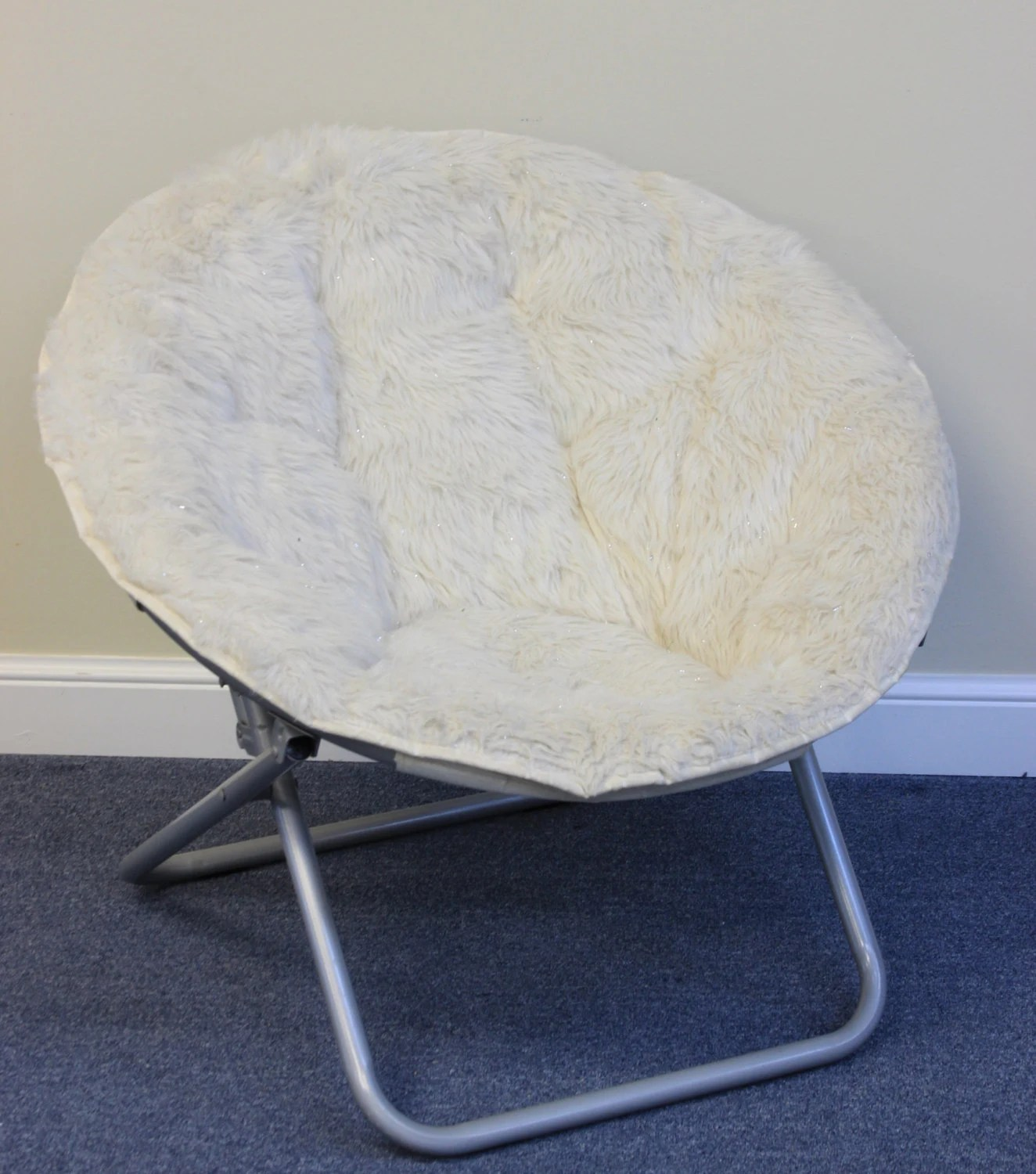 faux fur chair cover cream leather accent fold out bowl chairs