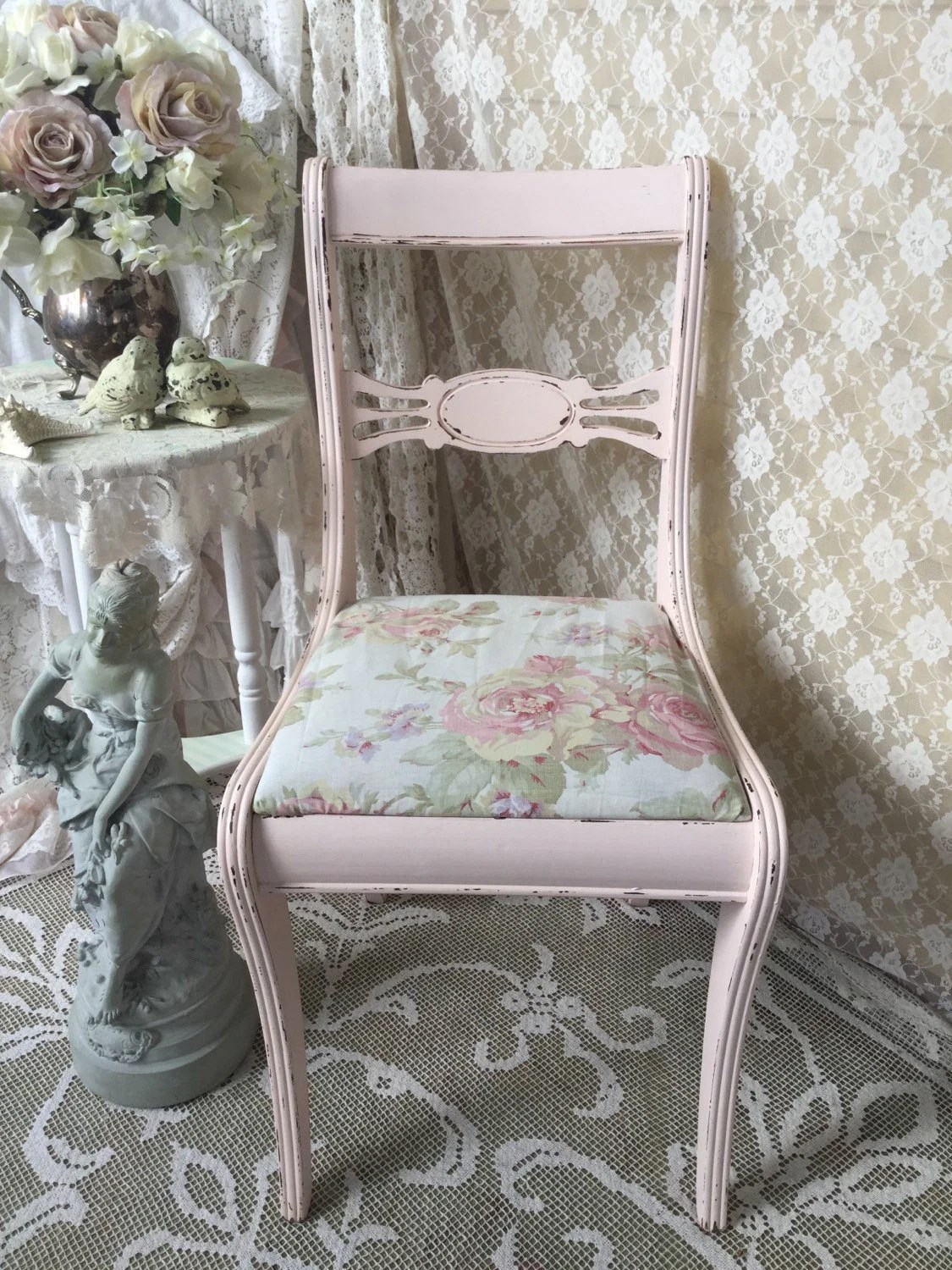 pink vanity chair diy hourglass time out shabby rose fabric