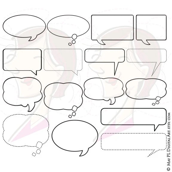 Items similar to Speech Bubbles Clipart Thought Bubble