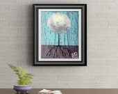 White Lollipop Tree Signed Art Print of Signature Original By Rafi Perez