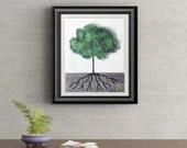 Green Tuft Tree Signed Art Print of Signature Original By Rafi Perez