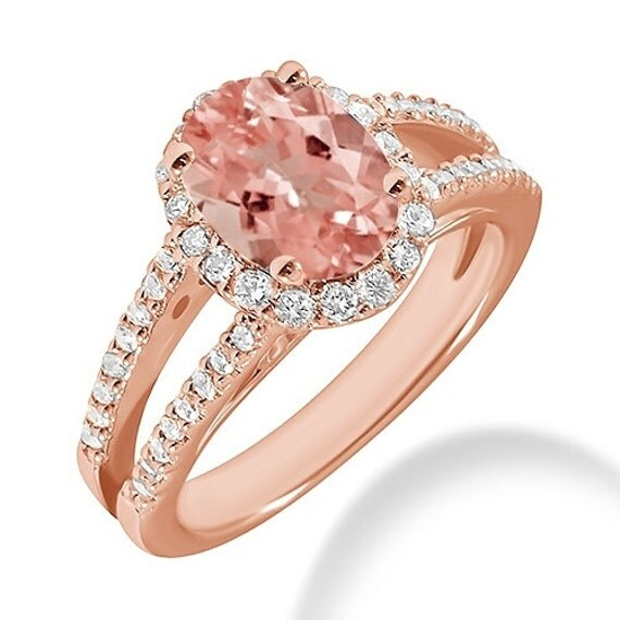 Oval Peach Pink Morganite & Diamond Halo Engagement Ring 14k