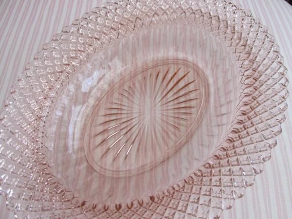 Pink Depression Glass Oval Serving Bowls
