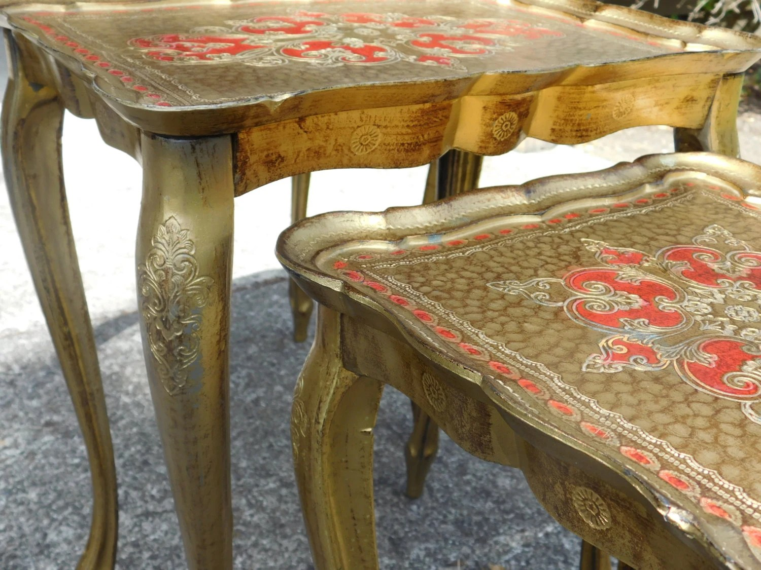 Red And Gold Florentine Nesting Tables Haute Juice. Full resolution‎  image, nominally Width 1500 Height 1125 pixels, image with #A33928.