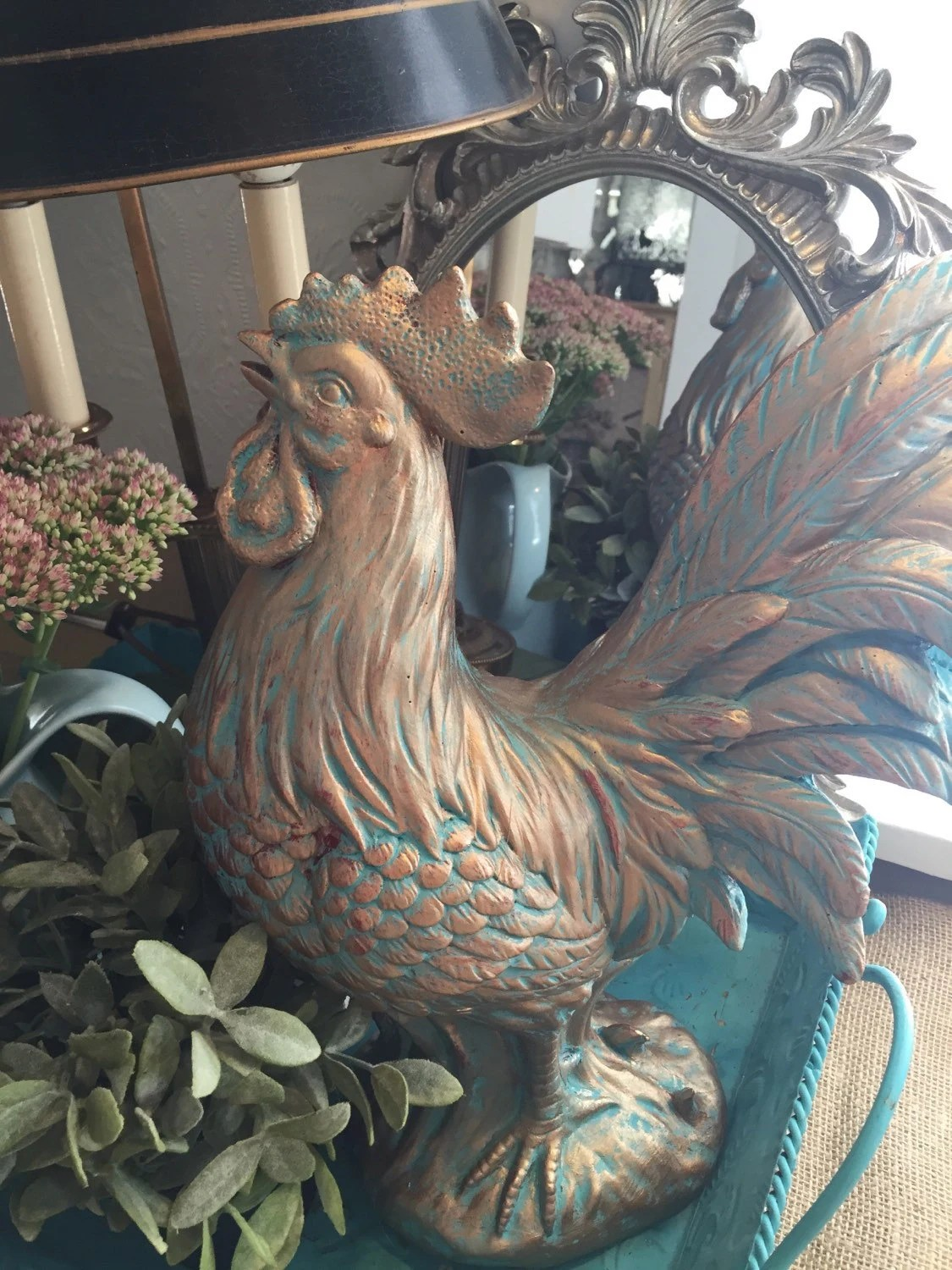 rooster statue for kitchen rustic furniture large french table centerpiece hand