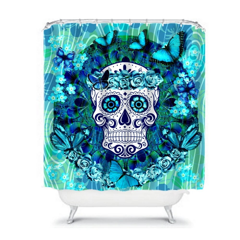 Sugar Skull Shower Curtain Miss Candice with Butterflies Teal