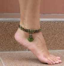 Peacock Color Beaded Barefoot Sandals