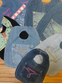 Personalized Baby Bibs recycled Denim by BevsBlueDress on Etsy
