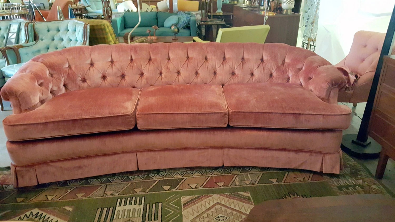 hollywood regency curved sofa bed new york city stunning pink tufted by gremlina